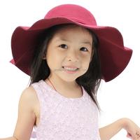 Hot Selling Vintage Kids Child Boy Girl Hats Wool Felt Crushable Wide Large Brim Floppy Cloche Large brimmed Sun Cap Gift