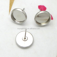 10mm 12mm Silver Plated Cabochon Bezels Setting Round Earring Tray Ear Stud Blank Base For Jewelry Making