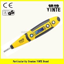 China factory Digital LCD display voltage tester pen screwdriver type tester with blue screen display and sensor gold PCB