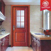 New style kitchen door wood entry door with frosted glass