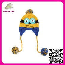 hot sale high quality minion knitting free winter beanie hat for kid