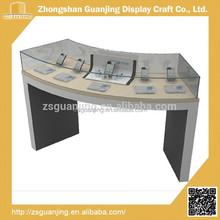 Modern design led lighting wood mobile phone display cabinet