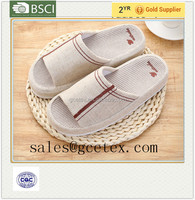 GCE1200 Super soft nature jute fbric bedroom slippers for hotel