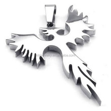 Best Selling Stainless Steel Silver Phoenix Bird Firebird Pendant For Men