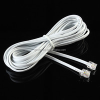 1pcs White-5m/16.4ft RJ11 6P4C to RJ 45 8P4C Internet Telephone Extension Cable Cord Line Wire With The Double Crystal Head