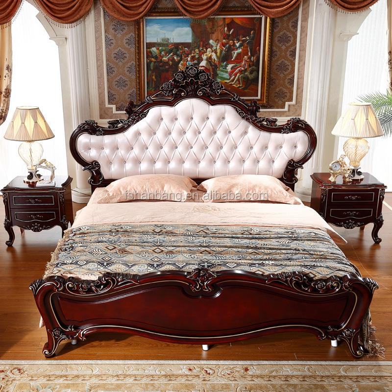 주식 진한 갈색 붉은 킹 사이즈 고급 왕실 나무 침실 가구 세트 ...