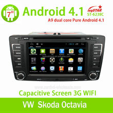 Pure Android 4.1 Car DVD Player with DVD GPS Radio RDS BT USB 3G WIFI Function Support SWC for VW Skoda Octavia 2012