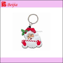 Santa clause soft pvc rubber keychain as christmas gift