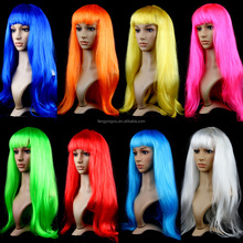Halloween Cosplay Wigs Young Long Straight Synthetic Hair Wig Bangs Blonde Costume Party Wigs For Women