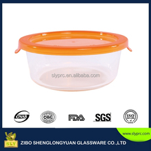 Round heat-resisitant glass food storage container with multicolor lid