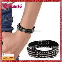 2015 Fashion 2 Wraps Colorful Crystal Beads Bracelet with Adustable Chain