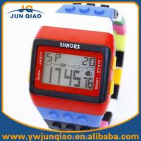 2015 Shhors brand silicone strap toy bricks block led kids toys watches