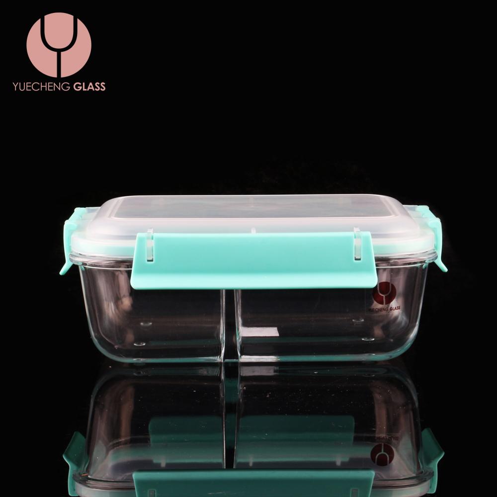Chịu nhiệt borosilicate thực phẩm dụng cụ thủy tinh hộp ăn trưa với nắp nhựa