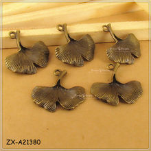 Antique Bronze Tone Mini 3D Apricot Leaves Finding Pandents Charms