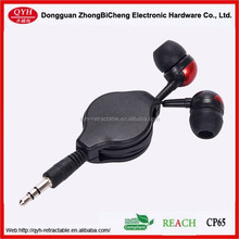 2015 hot selling price cheap retractable earphone reel cable for Iphone/mp3 player/mp4 player/mp5 player