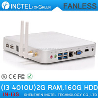 Fanless PC Intel Core i3 4010U Hotel Computer Networking Remote PC Haswell Architecture 2G RAM 160G HDD
