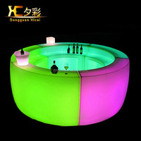 Glowing Bar Furniture Plastic Table LED Mobile Counter For Hotel Night Club