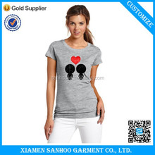 2015 New Product Slim Body Fit Women Personized T Shirt Printing 100% Cotton European Standard