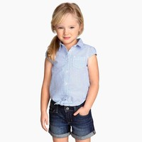2015 Girl's Blue Stripe Cotton Crepe Shirts with Knot Hem Chlidren Short Sleeve Casual Blouse for Wholesale Haoduoyi