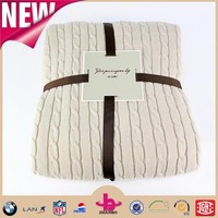 New products 2016 trend new style natural color sherpa blanket/ cable knit sherpa throw with one side knitting yarn