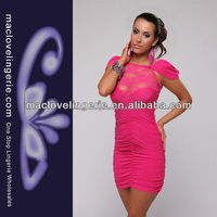 ML17788 Hot Sale Ruffled Front Pink Hawaiian Dress Southern Lady Clothing