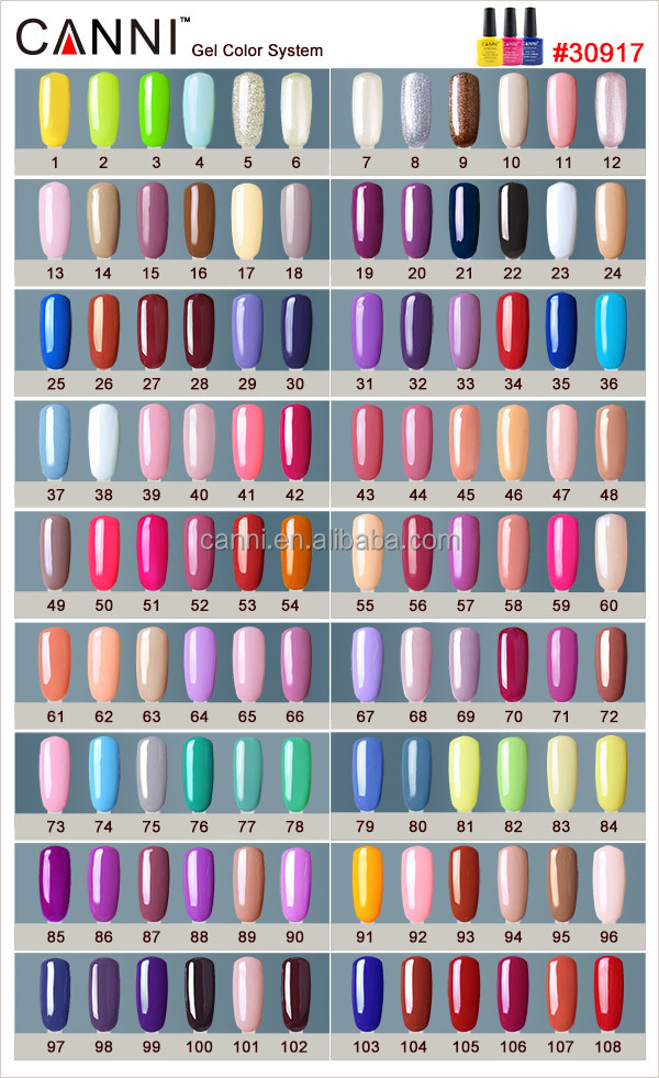 30917b Canni Factory Nail Polish Color Chart Paint Color Chart Nails