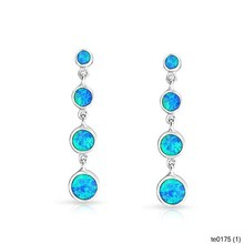 Fashion Jewelry Graduated Bezel Blue Opal Inlay Drop Earrings