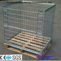 Foldable galvanized wire stacking cage with wood pallet