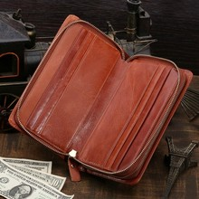 Leather Clutch Bag for Gentlemen Zipper Closure Men's burse