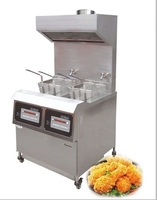 2015 new type 25L gas fryer thermostat control valve machine1 tank 2 mini baskets with range hood deep churro fryer without oil