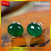PRIMERO Luxury Semi-Precious Stone Earring Green Agate,Sapphire,Ruby 925 Sterling Silver Stud Earrings For Women