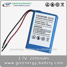 Li-ion de la batería 3.7v 2000 103450 mah batería de litio ion