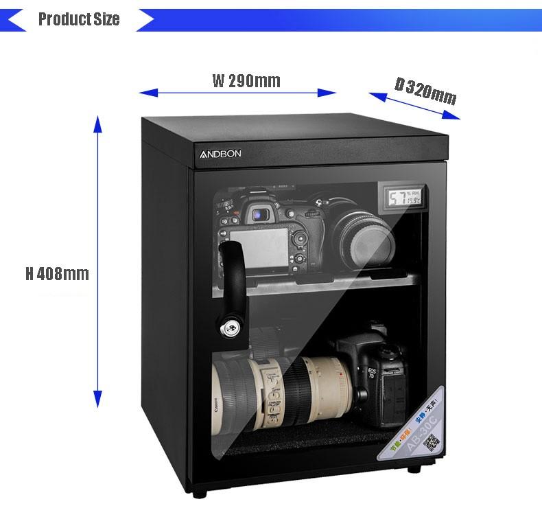 30L LCD affichage numérique Armoire Sèche pour Lentille de Caméra
