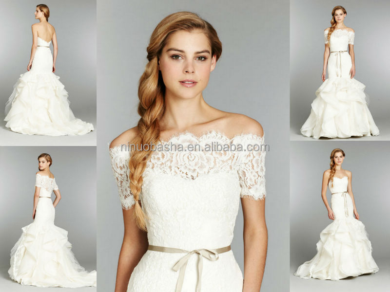 2014 Sweetheart Backless Ruffled Skirt Long Organza Mermaid Wedding ...