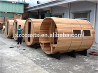 Dry sauna and easy installation Red timber or white pine barrel sauna room for sales