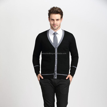 Autumn and winter newest solid color men V-neck knitted cardigan sweater
