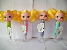 Innovate promotion girl head with stitching hair ball pen