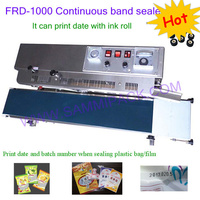 FRD-1000 Solid Plastic Film Sealing machine+Vertical Sealing+date printing+seal belt ink band sealer Stainless steel