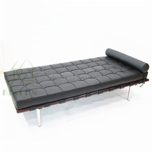 Classic comfortable Mies Van Der Rohe black leather barcelona daybed