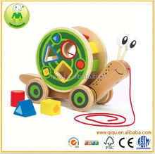 Snail Puzzle train Baby pull string car toy Educational Game Infant Gift
