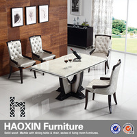 White marble stone tstone dining table with oak stand & leather cushion desk chair