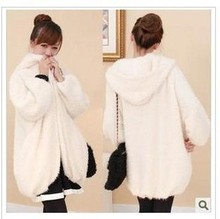 Snowflake velvet hooded long section of loose, casual cute plush padded cotton jacket
