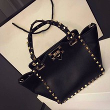 Trendy rivet tote lady hand bag woman 2015