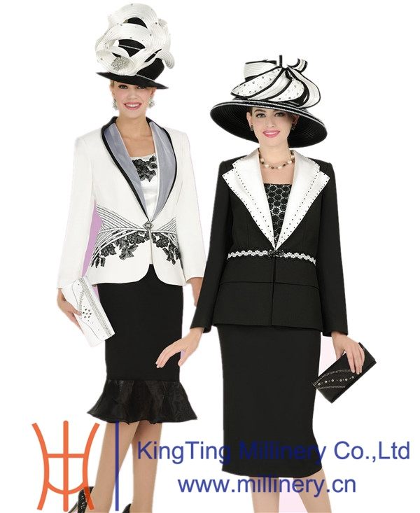 Women Church Suits Together With Church Hats Whole Set Wedding Dress