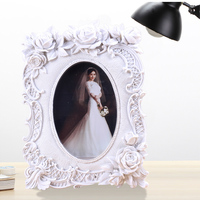 2015 Factory Direct Selling Big flower decoration hot sexy photo frame acrylic European style polyresin art picture frame