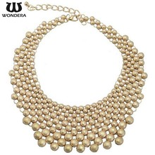 Wholesale Dense Bib Necklace Gold Plated Alloy African Beads Jewelry