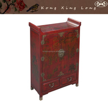 Antique Furniture Red Hand painted Chinese Shoe Cabinet by Kong Xing Long