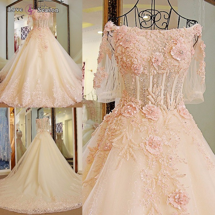 Ls04779 Pink Lace Flowers Ball Gown Wedding Dresses For Sale Used ...