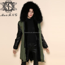 brand fashion leather coat with real fur collar popular style fur coat