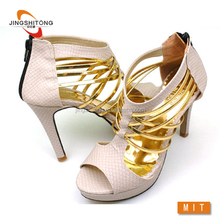New product golden unique ankle sandal for woman